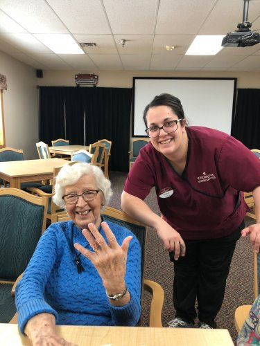 Mabel showing off her newly painted nails with Brandy(CNA). We always have a great time together!