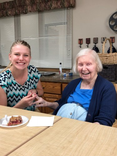 Amy(LEC) doing Janet's nails at ladies hour! We had a blast chatting and telling stories!