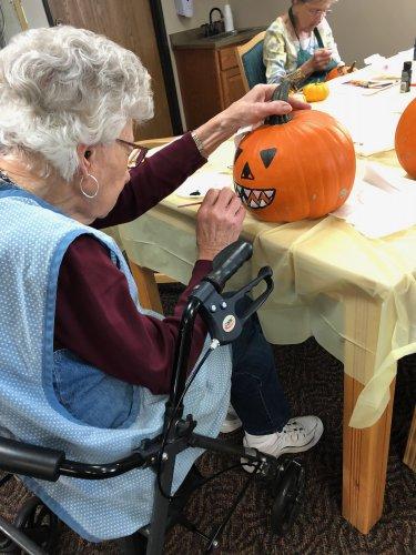 Mae Painting her pumpkin! She did such a wonderful job!
