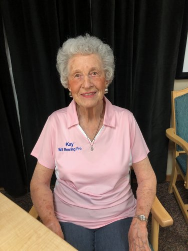 Kay had a late Christmas present arrive! She talks with her family about how much fun she has at Wii bowling, so they got her a bowling shirt with her name on it and everything! Lookin' good Kay!