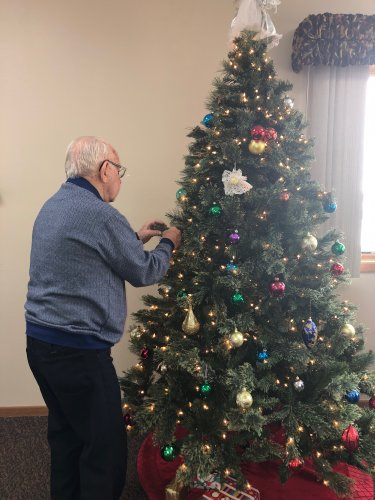 Wallace decorating the Christmas tree! this is our favorite time of the year!