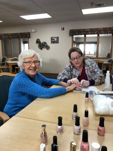 Mabel getting her nails done by Patty (CMA) at Ladies Hour today!