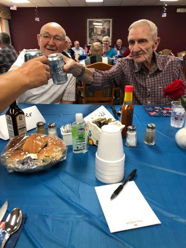 Harold and Bob enjoying an ice cold beer at our fathers day celebration!