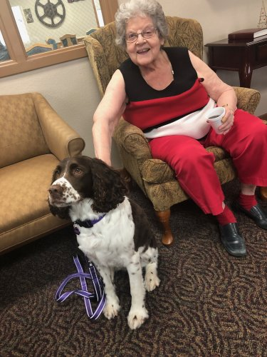Marion petting one of the dogs that come for pet therapy!