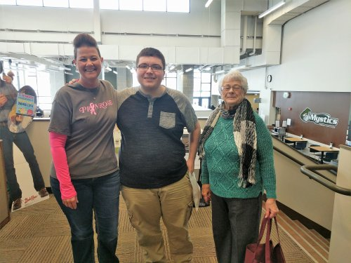 Stef (Housekeeper) and DeLayne with a student at Bismarck State College. The students enjoyed receiving treats for Random Acts of Kindness day.