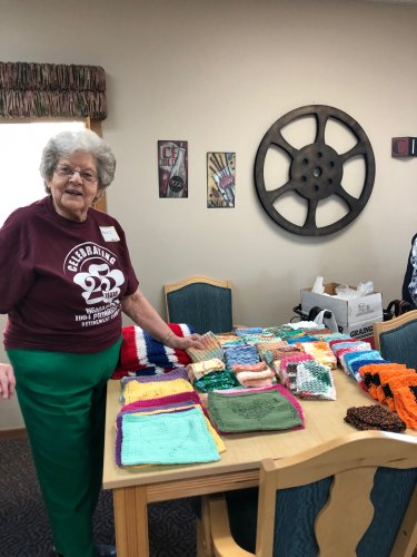 Marion with her wash cloths she made for our resident craft show at our 25th anniversary celebration!
