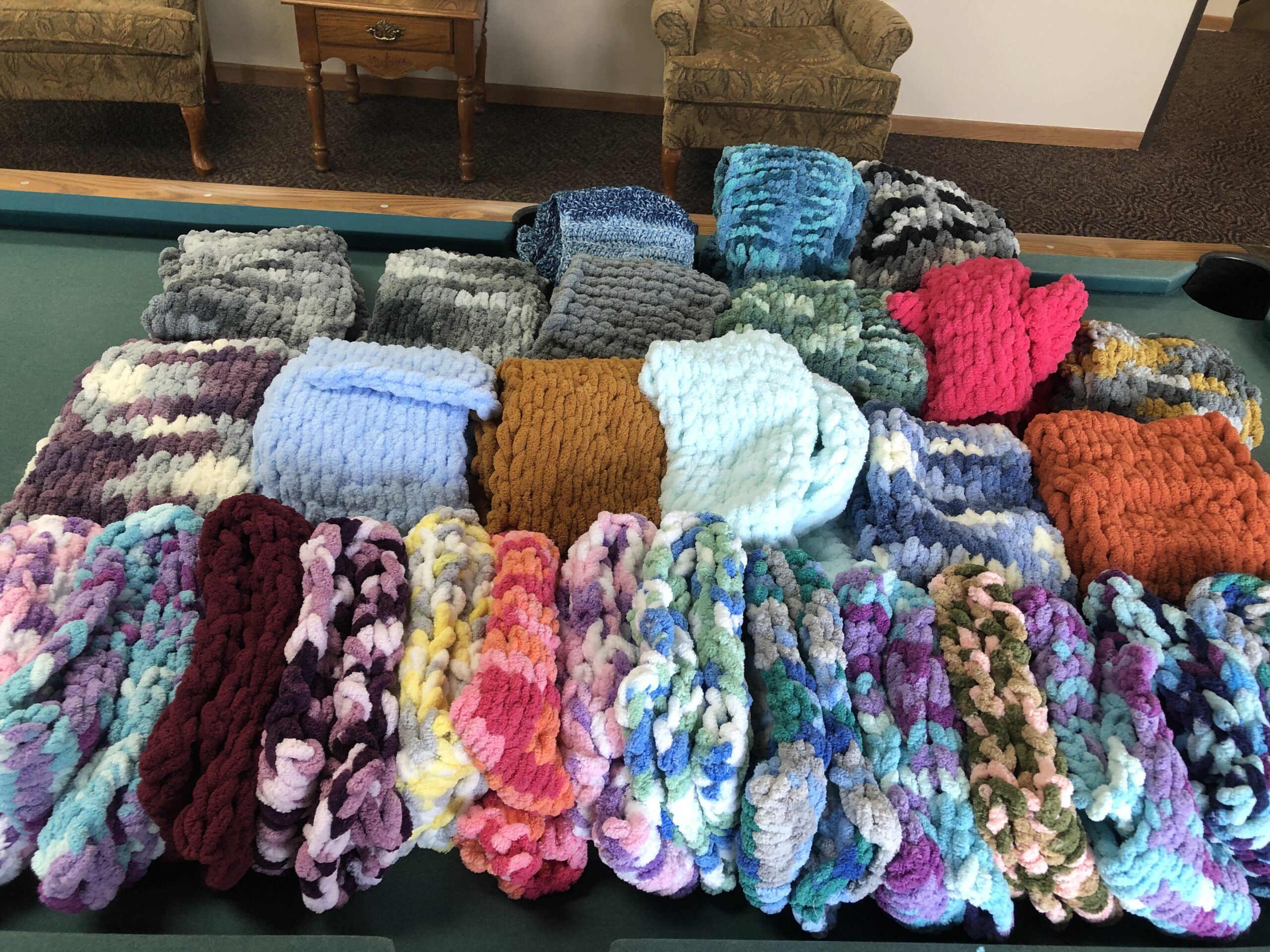 Scarfs Made from Loop Yarn 14 Adults & 18 Children's Donated to the United Way