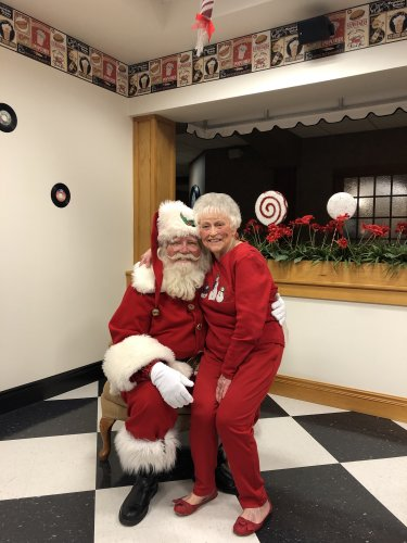 You're never to old to sit on Santa's lap