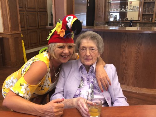 Margaret served up the national cocktail for Brazil during Happy Hour on 'Where in the World Day' and Marian enjoyed trying it!