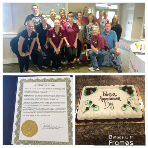 Resident Family members threw a big employee appreciation party for the Decatur Community. They were even given an official proclamation from the city mayor. September 21st is officially Primrose Appreciation Day!