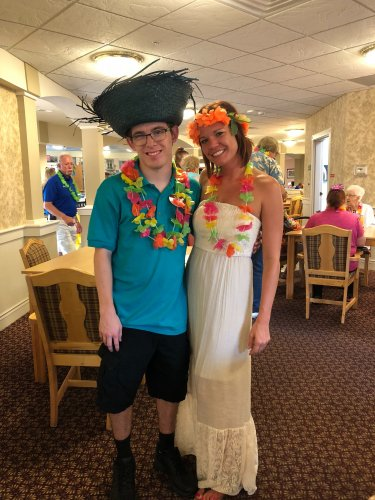 Dietary Aid Colton and Sales Director Katelyn enjoyed taking part in our annual Luau