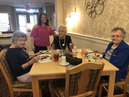 Decatur had Music and Fine Dining to celebrate 'The Longest Day' For lunch they enjoyed listening to a Quartet while feasting on ribeye steaks cooked on the grill, twice baked potatoes, cranberry feta cheese salad, watermelon, and pecan pie!