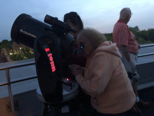 Thelma was taking an up close look at Jupiter during our visit to Millikin Universities Observatory
