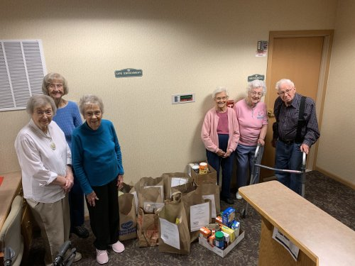 Our residents collected 182lbs of food for the local food drive