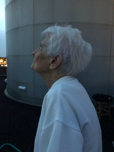 Waneta was amazed at the beautiful view of the night sky on top of Millikin Universities Observatory
