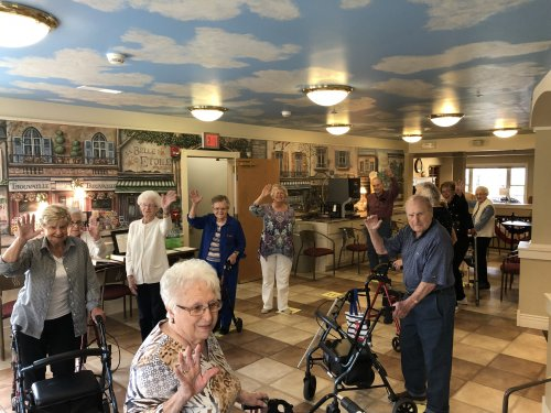 Residents enjoyed many musical games on 'The Longest Day' One of their favorites was the Musical Walk