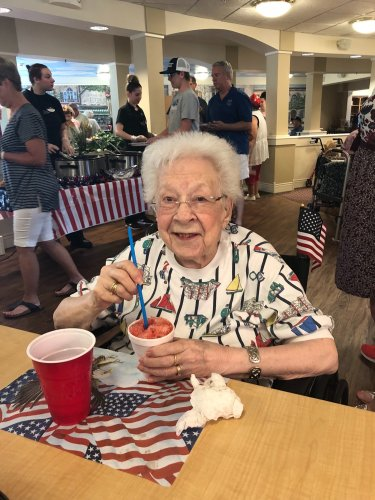 Eula enjoyed a snow cone at our 4th of July Picnic