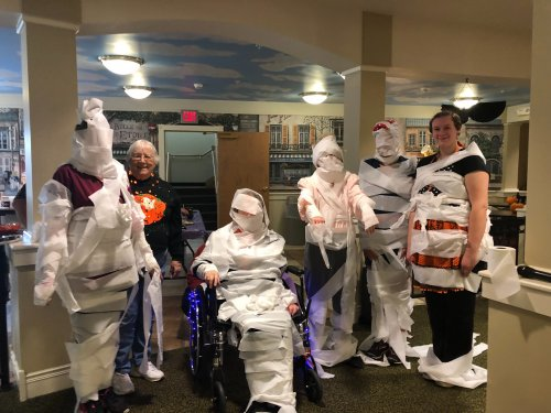 Residents and employees teamed up in Decatur for a mummy wrapping contest
