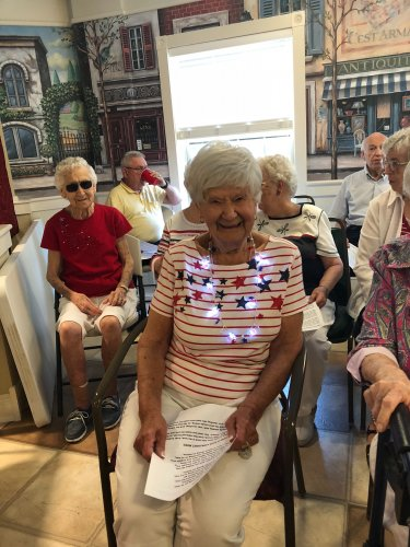 Mary was dressed from head to toe in red, white, and blue for our 4th of July party