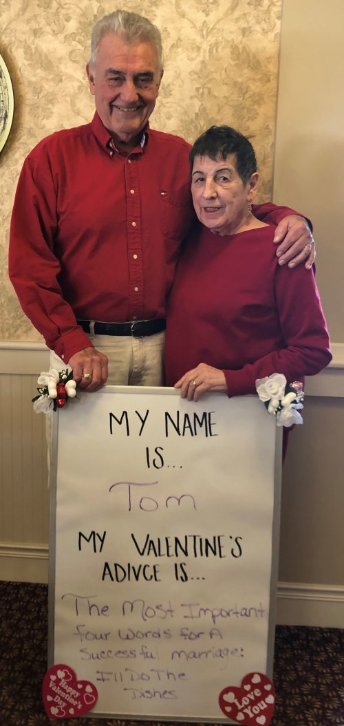 Tom knows how to butter up his wife Pat for Valentines Day