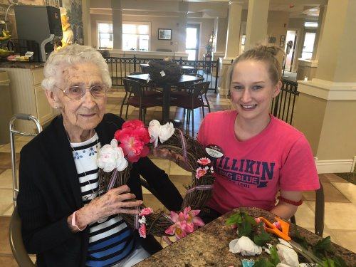 Virginia and CNA Brittany showed off their amazing Breast Cancer Awareness Weath