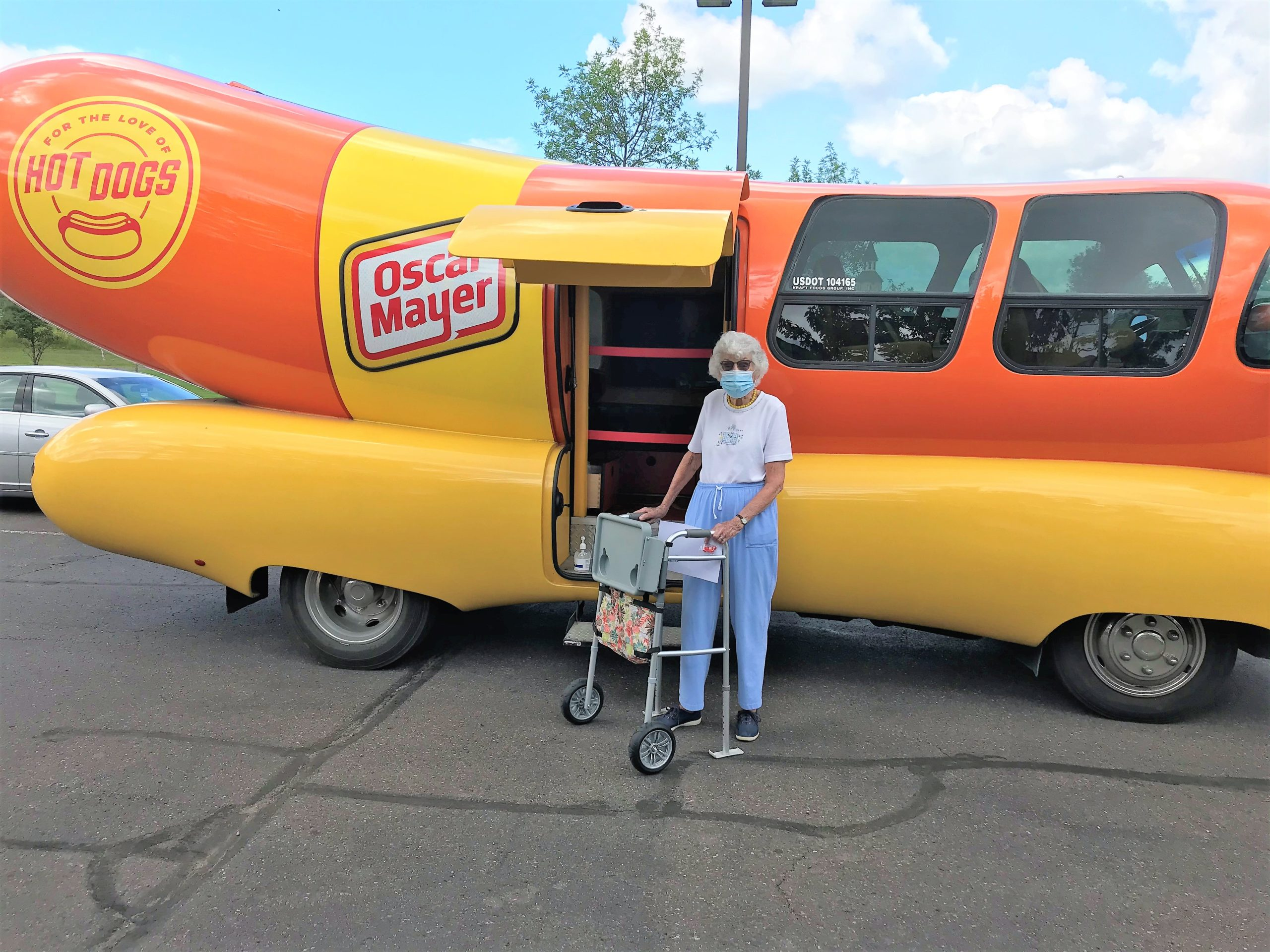 Petey checking out the Wiener Mobile