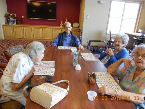 Residents enjoying playing a friendly game of Bingo.