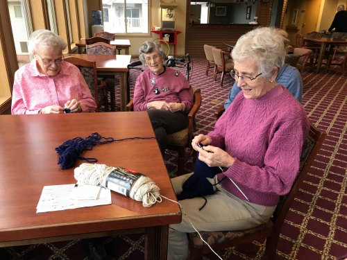 The ladies are knitting, chatting about life and waiting for the snow storm to start!
