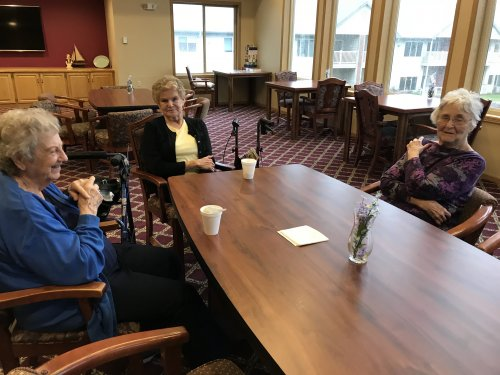 Virginia, Iris and Catherine enjoying a cup of coffee and conversation!