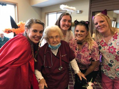 Rose wanted to dress as a Primrose Nursing staff member! Way to go Rose!