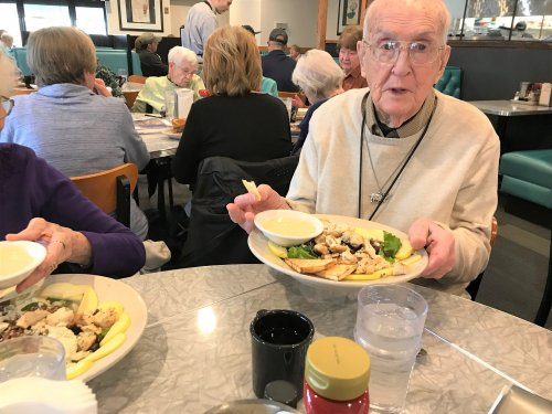 What a salad from Bridgemans ! Ray enjoying his lunch with the Primrose lunch bunch!