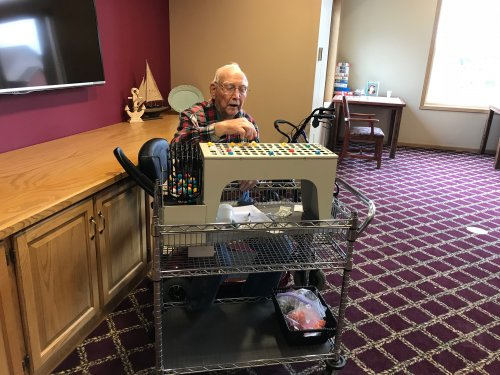 Ed calling Bingo for the first time and the residents loving it!