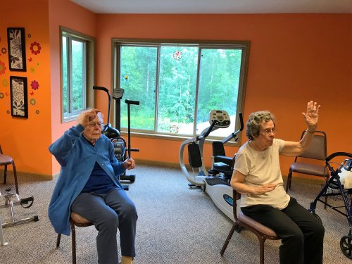 Dee and Joyce staying fit with daily exercise!