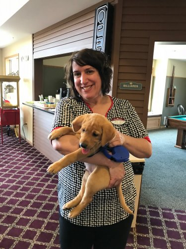 Our Ed. Heather teaching us stress relief with puppies!