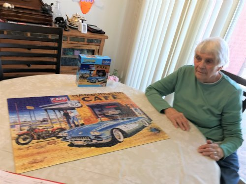 Doris just finished working on a 1000 piece puzzle. Time flys when you are having fun!