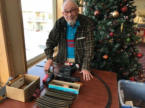 Eldon working on a train set to see if it works! Go Eldon!