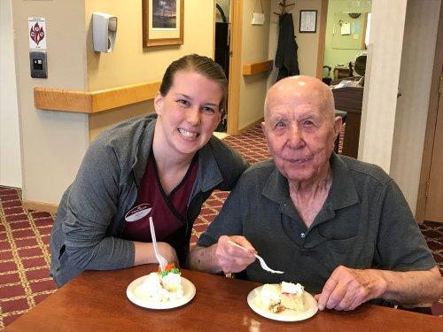 Janna helping her grandpa celebrating his birthday!