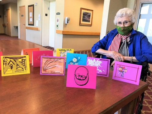 Patsy making homemade Thank you cards & Birthday cards for Primrose!