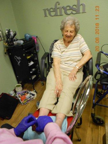 Virginia getting her toenails done! Happy Feet!