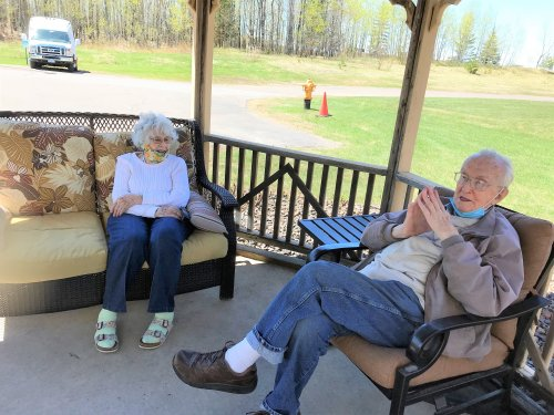 Patsy and Ray enjoying a great afternoon outside.