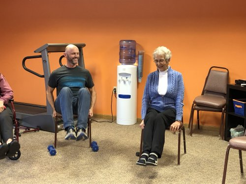 Dave teaching Mary a new exercise in class today!
