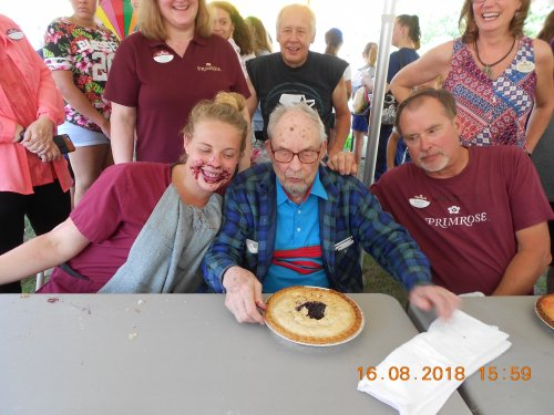 Becca, Eldon, and Gene just finished the pie eating contest.