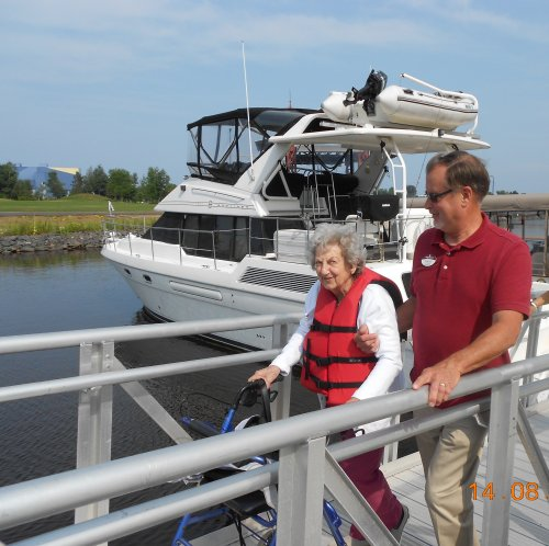 Gene and Virginia getting off the St. Louis River Boat Experience.