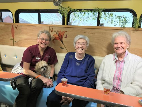 Judy,Connie,Judy and Sophie enjoying the Sun Spot Bus getting our Vitamin D.