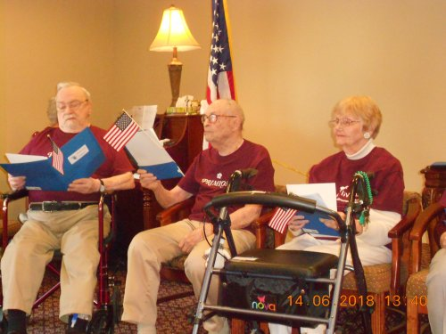 Gerald, Eldon, and Lilah are part of the Primrose Singers. Singing for family and friends in Honor of Flag Day.