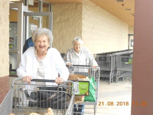 Virginia and Jean enjoying shopping. Always a good day when you can go shopping!