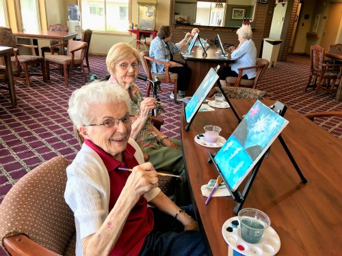 Janis and Lilah having fun with painting class today!