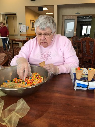 Norma starting to fill our Cornconeacopia for Thanksgiving.
