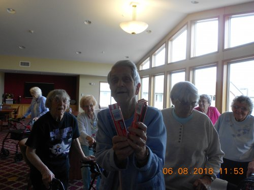 Mable is the Big winner of Ice Cream Bingo with 2 Snickers Bars!