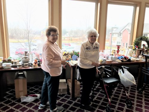 Jan & Pasty helping with setting up for our Rummage Sale!